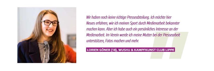 """Stimme einer Teilnehmerin der Kompaktausbildung  """"Vereins- Juniormanager Medienarbeit"""""""